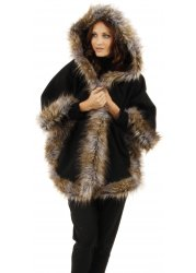 Black Hooded Poncho Coat With Long Faux Fur Trim