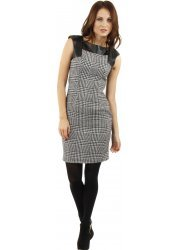 Dogtooth Check Leather Detail Shift Dress