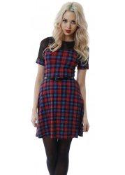 Bright Tartan Print Mesh Top Mini Dress
