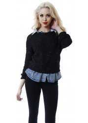 Black Sequinned Jumper With Faux Denim Shirt