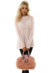 Soft Fluffy Pink Faux Fur Top Handle Small Tote Bag