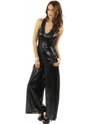 Black Sequinned Palazzo Style Jumpsuit