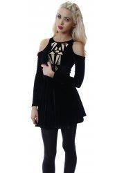 Black Velvet Gold Jewel Cut Out Shoulder Skater Dress