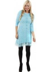 Fluffy Knit Lace Hem Aqua Long Sleeved Dress