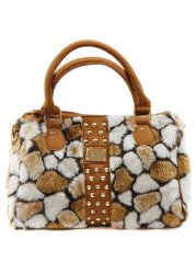 Tan Tonal Faux Fur Mid Size Tote With Top Handles