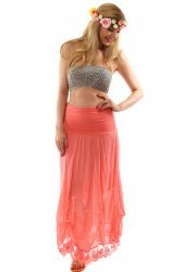 Hitched Coral Bandeau Maxi Skirt In Silk & Cotton