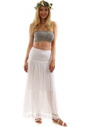 Hitched White Bandeau Maxi Skirt In Silk & Cotton