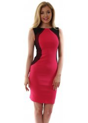 Cerise Pink Bodycon Contour Mesh Crystal Dress