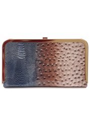 Cecilia Blue & Brown Animal Print Patent Clutch Bag
