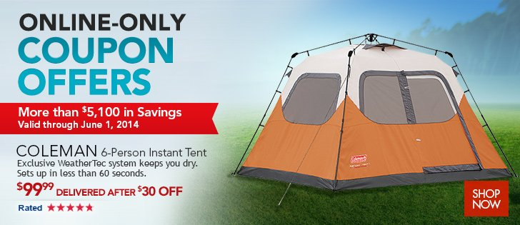 Coleman 6-Person Instant Tent. Exclusive WeatherTec system keeps you dry. Sets up  sc 1 st  Milled & Costo: NEW Online-Only Coupon Offers Start Today!   Milled