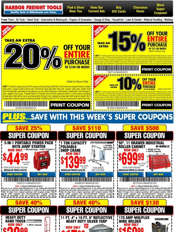 harbor freight up to 20 off your entire purchase 24 super coupons milled. Black Bedroom Furniture Sets. Home Design Ideas