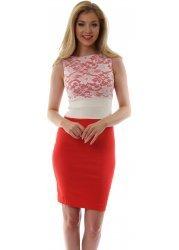 Melon & Ivory Contrast Lace Hazel Dress