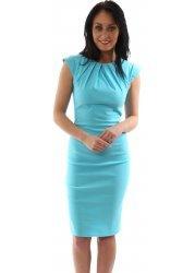 Cap Sleeve Pleated Neckline Bengaline Aqua Pencil Dress