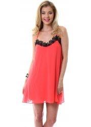 Coral & Black Lace Flower Detail Lingerie Shift Dress