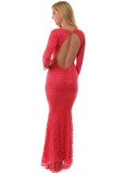 Faye Coral Lace Backless Maxi Dress