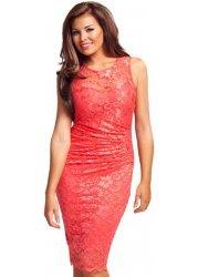 Coral Pink Lace Body Con Midi Billie Dress