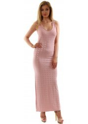 Pink Racer Back Stretch Rosie Maxi Dress With Silver Circles