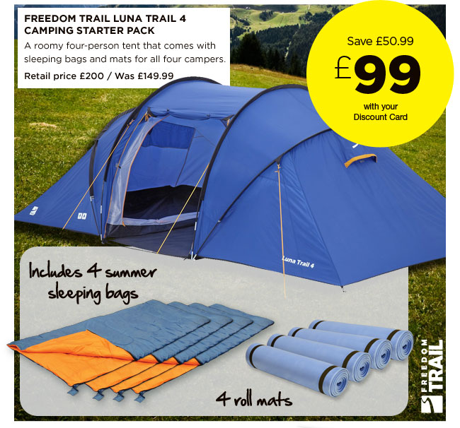 Freedom Trail Luna Trail 4 C&ing Starter Pack  sc 1 st  Milled & Go Outdoors: WOW great tent bundle deals - save on bundles from ...