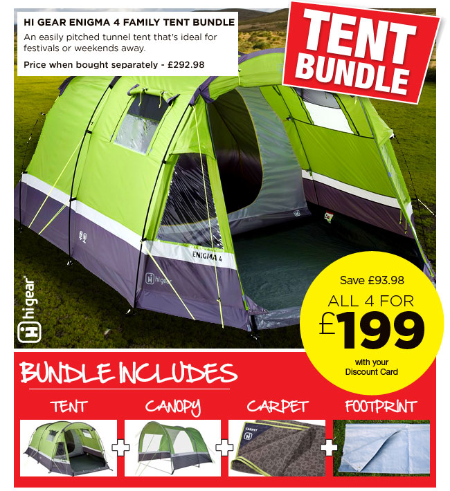 Hi Gear Enigma 4 Family Tent  sc 1 st  Milled & Go Outdoors: WOW great tent bundle deals - save on bundles from ...