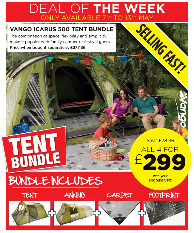 Vango Icarus 500 Tent Bundle  sc 1 st  Milled & Go Outdoors: WOW great tent bundle deals - save on bundles from ...