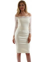 Lottie Cream Off The Shoulder Scalloped Lace Pencil Dress