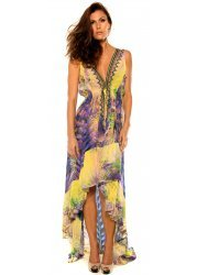 Yellow & Purple Palm Print Silk Crepe Hi Low Dress