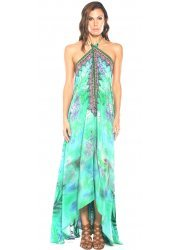 Aqua Green Amazonia Palm Silk Crepe Dress With 3 Ways To Style