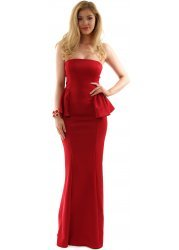 Rich Red Peplum Strapless Maxi Evening Dress