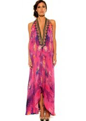 Purple & Pink Amazonia Palm Silk Crepe Dress With 3 Ways To Style