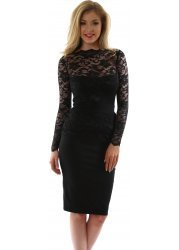 Black Lace Overlay Billie Pencil Dress