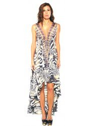 Safari Zebra Print Silk Crepe Hi Low Dress