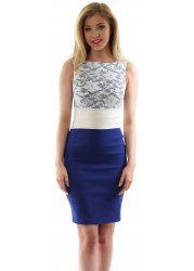 Cobalt Blue & Ivory Contrast Lace Hazel Dress