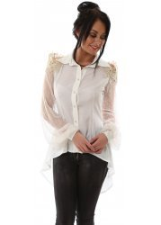 Ivory Silk Open Shoulder Gold Lurex Mesh Sleeves Shirt