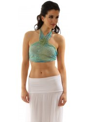 Green Silk Sequinned Halter Neck Backless Beach Crop Top