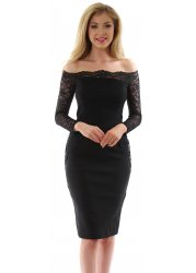 Lottie Black Off The Shoulder Scalloped Lace Pencil Dress