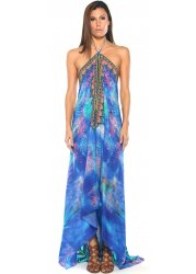 Blue Amazonia Palm Silk Crepe Dress With 3 Ways To Style