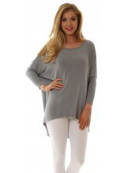 Flighty Oversized Dip Hem French Grey Crepey Slouch Top