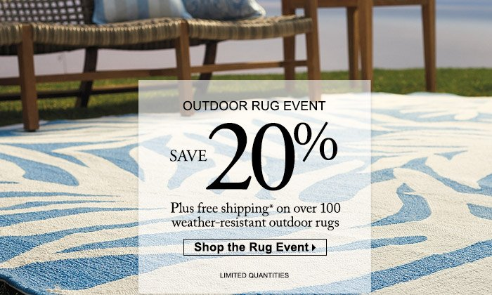 frontgate: save 20% on outdoor rugs + free shipping sitewide | milled