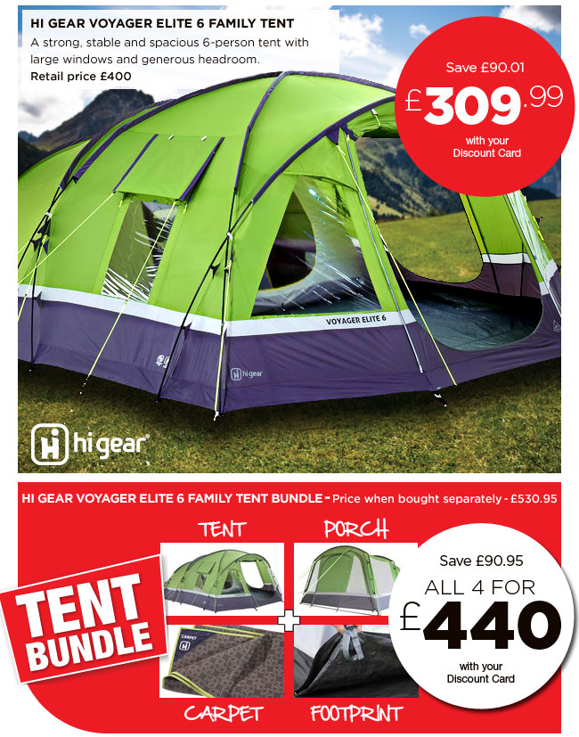 Hi Gear Voyager Elite 6 Family Tent  sc 1 st  Milled & Go Outdoors: Get ready for summer with great deals on tent bundles ...
