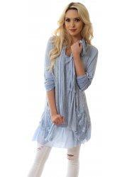 Light Blue Fine Knit Layered Lace Pockets Tunic Dress With Scarf