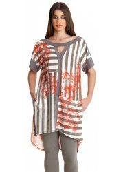 Red Rococo Print Stripe Long Jersey Top