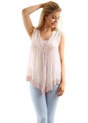 Baby Pink Silk Lace & Crochet Gilet & Vest Top