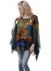 Blue Turquoise & Yellow Butterfly Print Kaftan Top