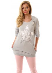 Grey Cotton Silver Star Short Sleeved Hooded Sweatshirt
