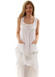 White Linen Sleeveless Relaxed Tunic Top