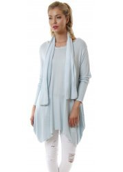 Light Blue Slouch Frilled Neck Tunic Top With Scarf