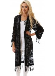 Black Silk Devore Long Beaded Tassel Kaftan Jacket