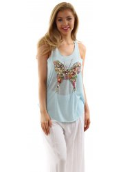Baby Blue Lace Back Sleeveless Vest With Sequinned Butterfly
