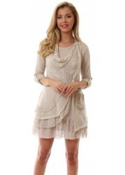 Beige Knit Draped Front Silver Button Tunic Dress