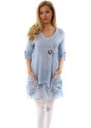Blue Lace Cotton Knit & Wooden Button Layered Tunic Dress
